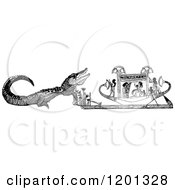 Clipart Of A Vintage Black And White Crying Crocodile Royalty Free Vector Illustration by Prawny Vintage
