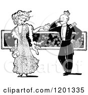 Clipart Of A Vintage Black And White Couple Flirting Royalty Free Vector Illustration