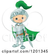 Cartoon Of A Happy Blond Knight Boy With A Green Cape Sword And Shield Royalty Free Vector Clipart by Pushkin