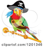 Cartoon Of A Pirate Macaw Parrot On A Gold Rod Royalty Free Vector Clipart