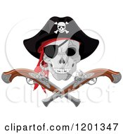 Cartoon Of A Pirate Skull With An Eye Patch And Hat Over Crossed Pistols Royalty Free Vector Clipart