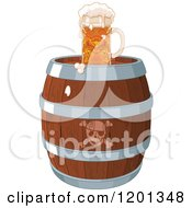 Cartoon Of A Frothy Beer Mug On A Pirate Keg Royalty Free Vector Clipart by Pushkin