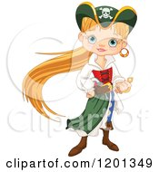 Cartoon Of A Pirate Girl With Long Blond Hair Gripping Her Sword Royalty Free Vector Clipart