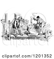 Clipart Of A Vintage Black And White Builders Laying Bricks Royalty Free Vector Illustration