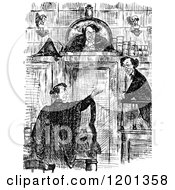 Clipart Of A Vintage Black And White Judge And Lawyers Royalty Free Vector Illustration