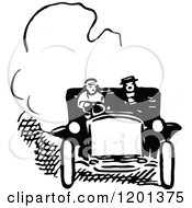 Clipart Of A Vintage Black And White Couple In A Car Royalty Free Vector Illustration by Prawny Vintage