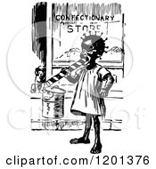 Clipart Of A Vintage Black And White Black Girl Eating Candy By A Shop Royalty Free Vector Illustration
