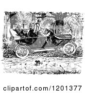 Clipart Of A Vintage Black And White Driver Swerving For A Frisky Cat In The Road Royalty Free Vector Illustration by Prawny Vintage