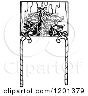 Clipart Of A Vintage Black And White Christmas Tree And Candy Cane Frame Royalty Free Vector Illustration by Prawny Vintage