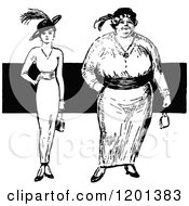 Clipart Of Vintage Black And White Thin And Overweight Fashionable Women Royalty Free Vector Illustration