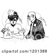 Clipart Of A Vintage Black And White Annoyed Lady And Old Suitor Royalty Free Vector Illustration