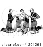 Clipart Of A Vintage Black And White Lady And Two Suitors Royalty Free Vector Illustration