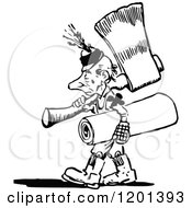 Clipart Of A Vintage Black And White Tiny Man Carrying An Axe Royalty Free Vector Illustration