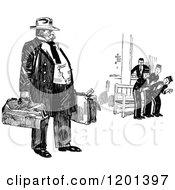 Clipart Of A Vintage Black And White Man And Hotel Staff Royalty Free Vector Illustration