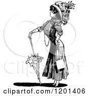 Clipart Of A Vintage Black And White Brolly Lady 2 Royalty Free Vector Illustration by Prawny Vintage
