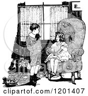 Clipart Of A Vintage Black And White Boy And Girl Discussing A Book In A Living Room Royalty Free Vector Illustration