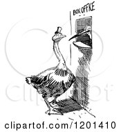Clipart Of A Vintage Black And White Bird At A Box Office Royalty Free Vector Illustration