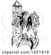 Clipart Of A Vintage Black And White Crow Couple By A Bell Tower Royalty Free Vector Illustration
