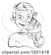 Clipart Of A Black And White Boy Licking His Lips And Holding An Ice Cream Cone Royalty Free Vector Illustration by merlinul