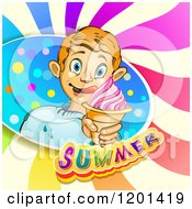 Clipart Of A Blond Boy Licking His Lips And Holding An Ice Cream Cone In A Colorful Splash Over Text And Swirls Royalty Free Vector Illustration by merlinul