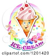 Clipart Of A Waffle Ice Cream Cone Mascot With Cherries A Rainbow And Splashes Over Text Royalty Free Vector Illustration by merlinul