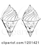 Clipart Of Black And White Waffle Ice Cream Cone Mascots Royalty Free Vector Illustration by merlinul