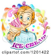 Clipart Of A Blond Boy Licking His Lips And Holding An Ice Cream Cone In A Colorful Splash Over Text 2 Royalty Free Vector Illustration by merlinul