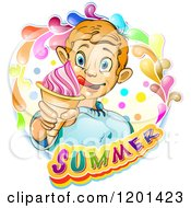Clipart Of A Blond Boy Licking His Lips And Holding An Ice Cream Cone In A Colorful Splash Over Text Royalty Free Vector Illustration by merlinul