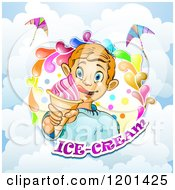 Clipart Of A Blond Boy Licking His Lips And Holding An Ice Cream Cone In A Colorful Splash Over Text And Clouds Royalty Free Vector Illustration by merlinul
