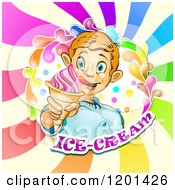 Clipart Of A Blond Boy Licking His Lips And Holding An Ice Cream Cone In A Colorful Splash Over Text And Swirls 2 Royalty Free Vector Illustration by merlinul