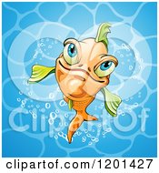 Clipart Of A Smiling Orange Fish In Blue Water Royalty Free Vector Illustration