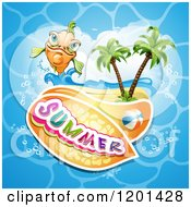 Clipart Of A Happy Orange Fish Over An Island Beach Water And Summer Text Royalty Free Vector Illustration