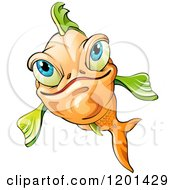Clipart Of A Smiling Orange Fish With Green Fins Royalty Free Vector Illustration