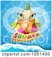 Clipart Of A Smiling Orange Fish Over Water And Summer Text Royalty Free Vector Illustration