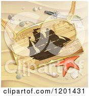 Clipart Of A Starfish And Wooden Pirate Ship Sign On A Sandy Beach Royalty Free Vector Illustration by merlinul