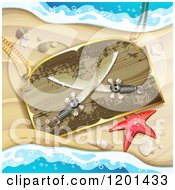 Clipart Of A Starfish And Wooden Pirate Knife Sign On A Sandy Beach Royalty Free Vector Illustration by merlinul