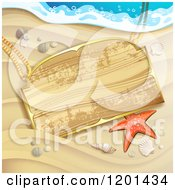 Clipart Of A Starfish And Wooden Sign On A Sandy Beach Royalty Free Vector Illustration by merlinul