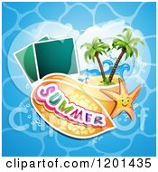 Clipart Of A Starfish Over A Beach With Instant Photos And Summer Text 3 Royalty Free Vector Illustration