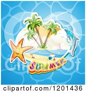 Clipart Of A Dolphin Leaping Over A Beach And Starfish With Summer Text Over Water Royalty Free Vector Illustration by merlinul
