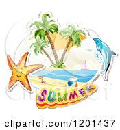 Clipart Of A Dolphin Leaping Over A Beach And Starfish With Summer Text Royalty Free Vector Illustration by merlinul
