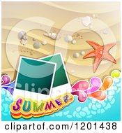 Clipart Of A Starfish Over A Beach With Instant Photos And Summer Text Royalty Free Vector Illustration