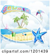 Clipart Of A Starfish Over A Beach And Summer Text 2 Royalty Free Vector Illustration