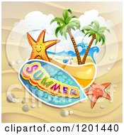 Clipart Of Starfish Over A Beach And Summer Text Royalty Free Vector Illustration