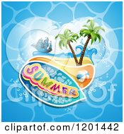 Clipart Of A Ship Over A Beach And Summer Text On Water Royalty Free Vector Illustration