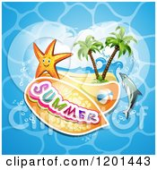 Clipart Of A Starfish Over A Beach And Dolphin With Summer Text Royalty Free Vector Illustration by merlinul