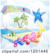 Clipart Of A Starfish With A Colorful Splash Over A Beach And Summer Text Royalty Free Vector Illustration by merlinul