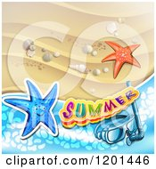 Clipart Of Starfish With Snorkel Gear Over A Beach And Summer Text Royalty Free Vector Illustration
