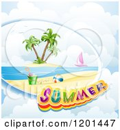 Clipart Of A Beach Scene Sail Boat And Summer Text Over Clouds Royalty Free Vector Illustration by merlinul