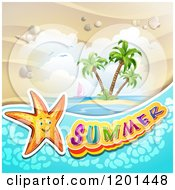 Clipart Of A Starfish Over An Island And Summer Text Royalty Free Vector Illustration by merlinul