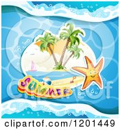 Clipart Of A Starfish Over An Island And Summer Text On Water Royalty Free Vector Illustration by merlinul